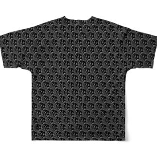 鮫総柄(前面白・背面黒) Full graphic T-shirts