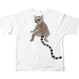 ワオキツネザル【両面ひっつき】だぞ💕 Full graphic T-shirts
