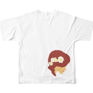 花と髪 Full graphic T-shirts