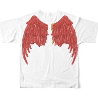 赫い羽根 Full graphic T-shirts