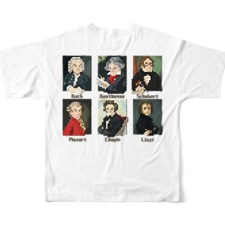 【バックプリント】 ドット 音楽室の肖像画 Full graphic T-shirts