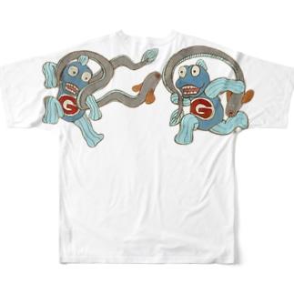 風魚雷魚図 Full graphic T-shirts