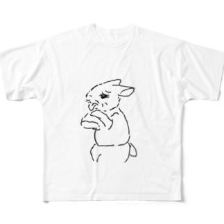 うさぎむすこ(黒8) Full graphic T-shirts