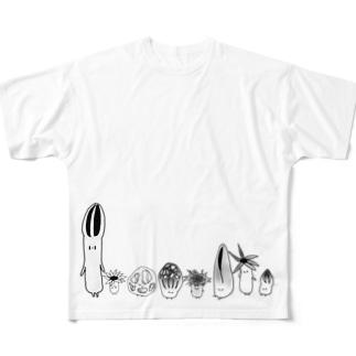 アカカゴタケ科のみなさん(きのこ) Full graphic T-shirts
