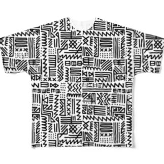 手書きトライバル柄 Full graphic T-shirts