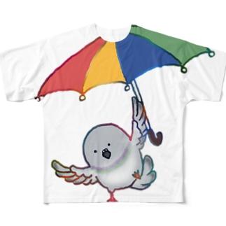 傘を使って飛ぶ鳩 Full graphic T-shirts