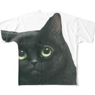にゃべしっ ちらっとこにゃんTシャツ Full graphic T-shirts