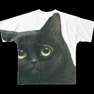 にゃべしっのにゃべしっ ちらっとこにゃんTシャツ Full graphic T-shirts