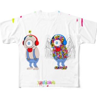 一輪ちゃん満開くん Full graphic T-shirts