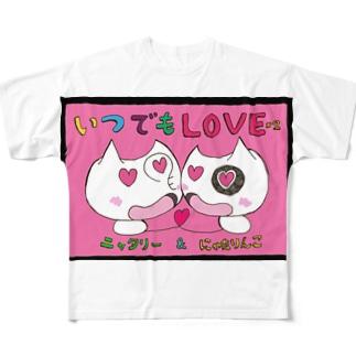 いつでもLOVE×2にゃたりん(ピンク) Full graphic T-shirts