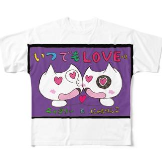いつでもLOVE×2にゃたりん(紫) Full graphic T-shirts