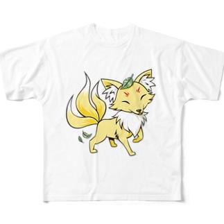 群馬のご当地もののけ「おくりぎつね」 Full graphic T-shirts