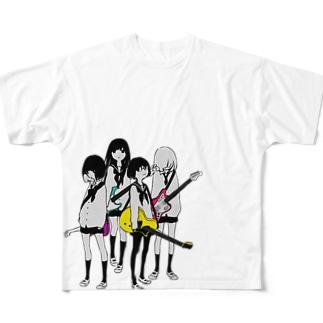 ギター&ベース女子高生 Full graphic T-shirts