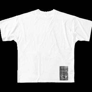 座敷ふくろうのKeep calm and carry owl Full graphic T-shirts