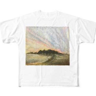 雰囲気のある夕焼け Full graphic T-shirts