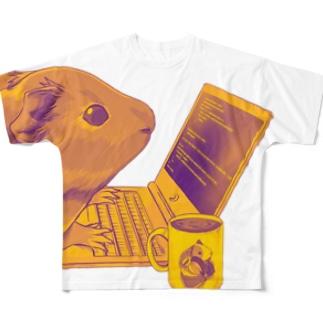 ノマドワーカーなモルモット(背景無し) Full graphic T-shirts