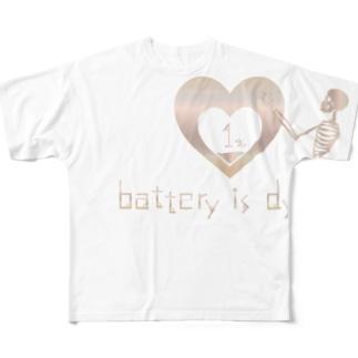 honey-designのバッテリーが死にそうです Full graphic T-shirts