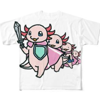 歴代勇者うぱさん Full graphic T-shirts