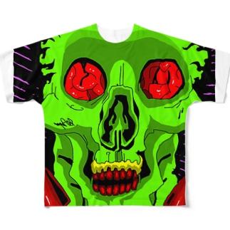 グリーンパーティー骸骨 Full graphic T-shirts