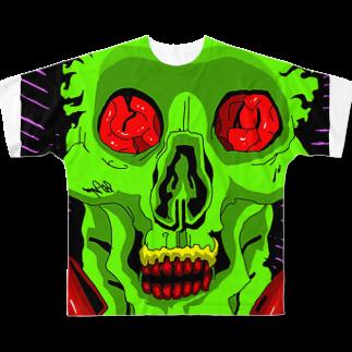 Keita Roimoのグリーンパーティー骸骨 Full graphic T-shirts