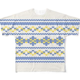 ノルディック -Nordic-Blue- Full graphic T-shirts