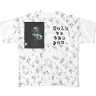 猫の手に言いな(モノクロ) Full graphic T-shirts