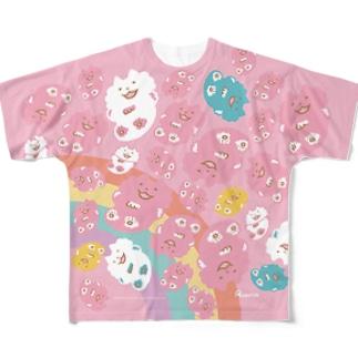 ねこらんど WAHA~❤️(ふんわりカラー総柄) Full graphic T-shirts