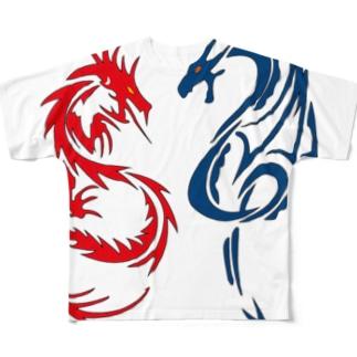赤い龍・青い竜! Full graphic T-shirts