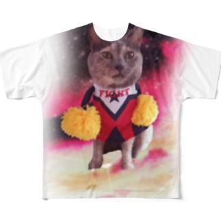 さらなる高見を目指す猫 Full graphic T-shirts
