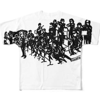スキコソのビッグバンドシャツ(黒) Full graphic T-shirts