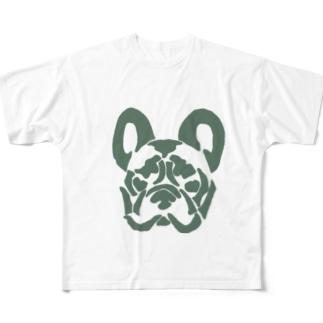 フレンチブルドッグ_khaki Full graphic T-shirts