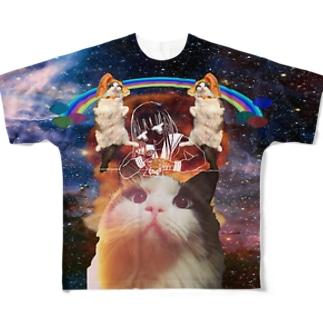 フワフワ教は宇宙をも Full graphic T-shirts