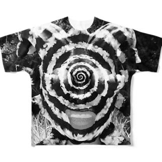 渦巻き男モノクロVer. Full graphic T-shirts