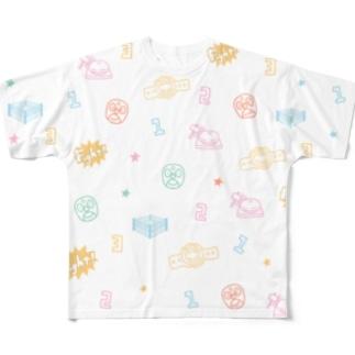 プロレスパターン(カラフル) Full graphic T-shirts