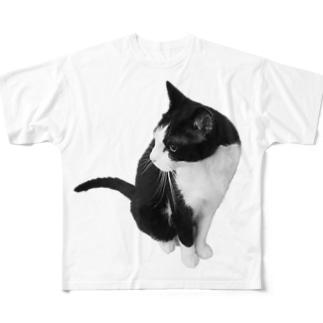 横向きねこ Full graphic T-shirts