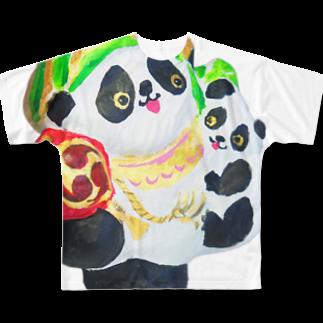 LILY STUDIOの招福あっぱれ大黒パンダ親子 Full graphic T-shirts