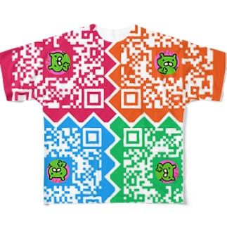 股間で日本を盛り上げ隊たいちょーのQRコード Full graphic T-shirts