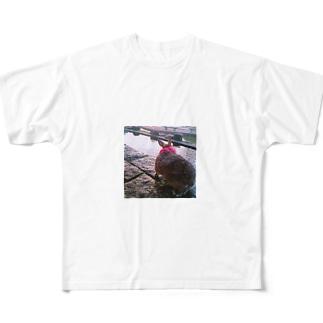 振り返り美人なんつて Full graphic T-shirts