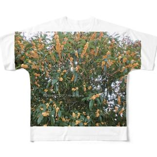 光景 sight740 キンモクセイ 金木犀 花 FLOWERS 壁紙 Full graphic T-shirts