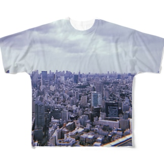 恵比寿、くもり Full graphic T-shirts