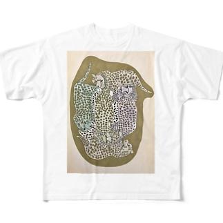 ヒョウのかたまり Full graphic T-shirts