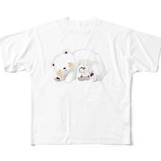 寝るクマ Full graphic T-shirts
