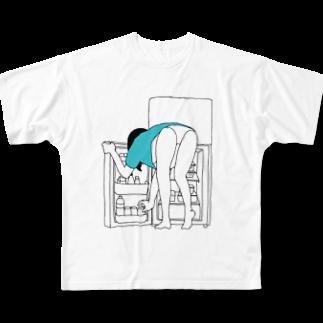 I_drink_milkteaのパンイチの女の子 Full graphic T-shirts