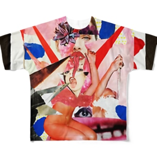 chisacollageのあっかんべー Full graphic T-shirts