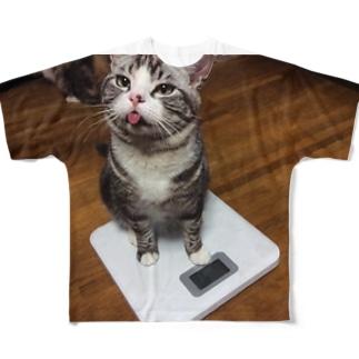 体重計にゃん基地 Full graphic T-shirts