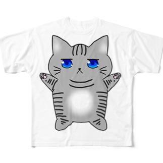 ジト目ねこさん Full graphic T-shirts