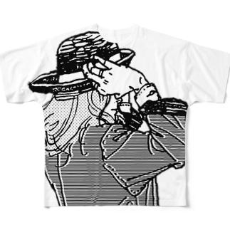帽子をかぶり直す Full graphic T-shirts