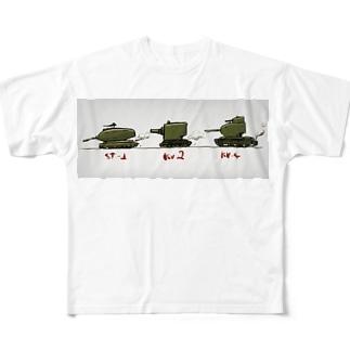 行進 頭でっかちソ連戦車 Full graphic T-shirts