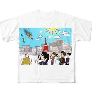 北の国からミサイルが飛んできた時の日本 Full graphic T-shirts