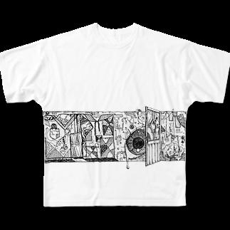 マー坊🦋の覗く Full graphic T-shirts